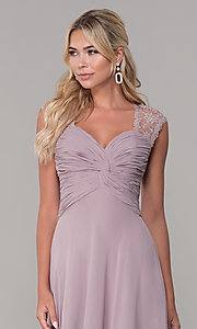 Image of long lace-back chiffon prom dress by PromGirl. Style: FB-PL-GL9001 Detail Image 1