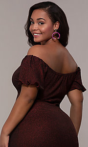Image of short red off-the-shoulder plus-size party dress. Style: KIM-D23186B Detail Image 2