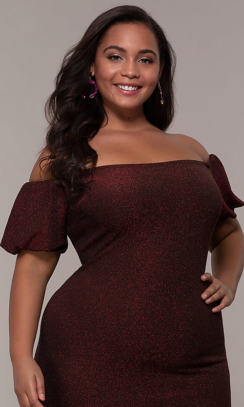 Image of short red off-the-shoulder plus-size party dress. Style: KIM-D23186B Detail Image 1