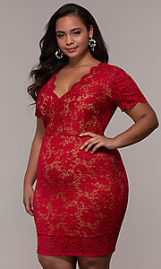 Image of v-neck short floral-lace plus-size party dress. Style: KIM-D23599B Front Image