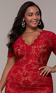 Image of v-neck short floral-lace plus-size party dress. Style: KIM-D23599B Detail Image 1
