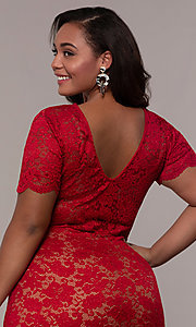 Image of v-neck short floral-lace plus-size party dress. Style: KIM-D23599B Detail Image 2