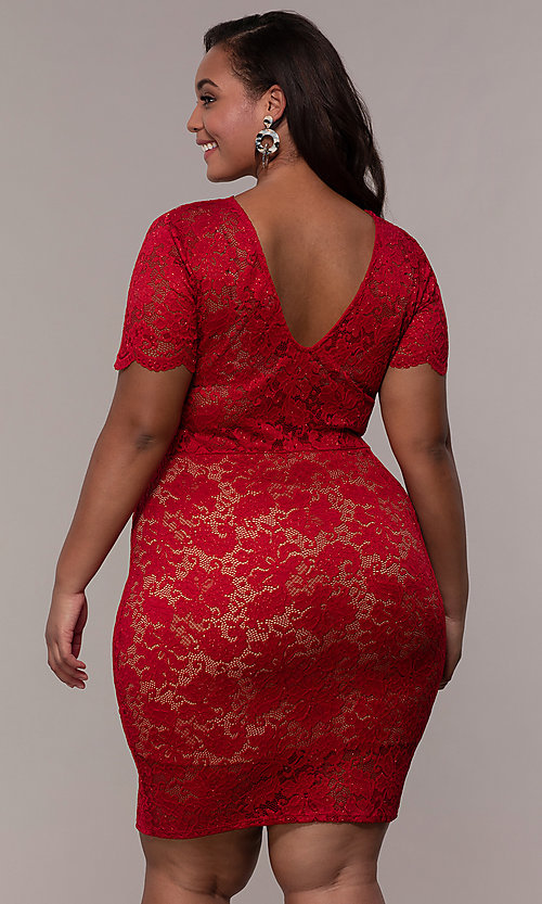 Image of v-neck short floral-lace plus-size party dress. Style: KIM-D23599B Back Image