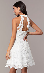 Image of short high-neck white lace graduation party dress. Style: DMO-J323857 Back Image