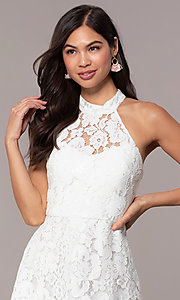 Image of short high-neck white lace graduation party dress. Style: DMO-J323857 Detail Image 1