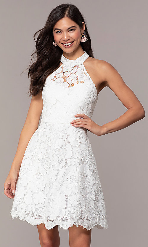 Image of short high-neck white lace graduation party dress. Style: DMO-J323857 Front Image
