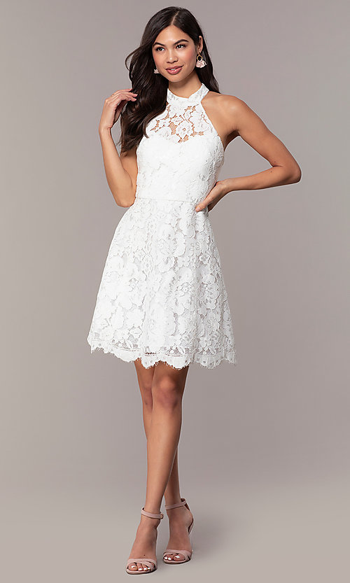 Image of short high-neck white lace graduation party dress. Style: DMO-J323857 Detail Image 3