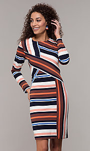 Image of long-sleeve striped wedding-guest party dress. Style: ECI-720047-8354 Front Image