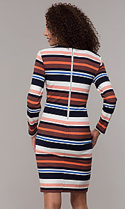 Image of long-sleeve striped wedding-guest party dress. Style: ECI-720047-8354 Back Image