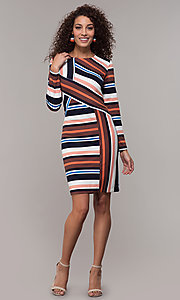 Image of long-sleeve striped wedding-guest party dress. Style: ECI-720047-8354 Detail Image 3