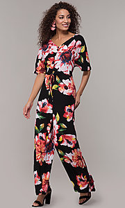 Image of floral-print v-neck wedding-guest jumpsuit. Style: ECI-720431-75510A Front Image