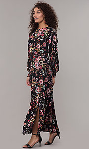 Image of maxi-length floral-print black wedding-guest dress. Style: ECI-720394-75929A Front Image