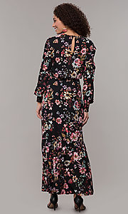 Image of maxi-length floral-print black wedding-guest dress. Style: ECI-720394-75929A Back Image