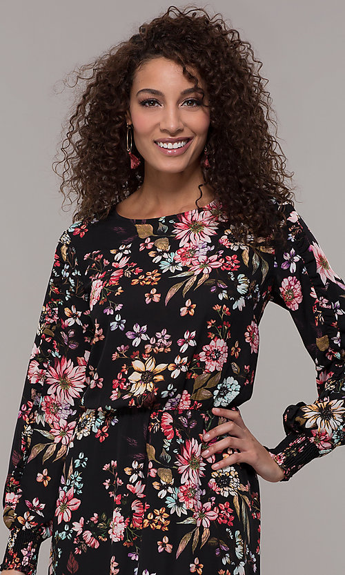 Image of maxi-length floral-print black wedding-guest dress. Style: ECI-720394-75929A Detail Image 1