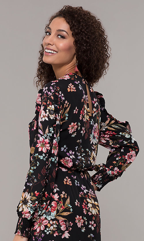 Image of maxi-length floral-print black wedding-guest dress. Style: ECI-720394-75929A Detail Image 2