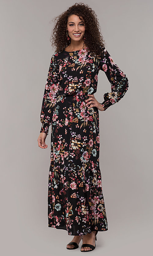 Image of maxi-length floral-print black wedding-guest dress. Style: ECI-720394-75929A Detail Image 3