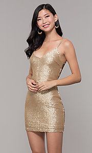 Image of gold sequin mini holiday party dress. Style: FAN-EKD2092 Front Image