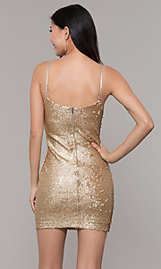 Image of gold sequin mini holiday party dress. Style: FAN-EKD2092 Back Image