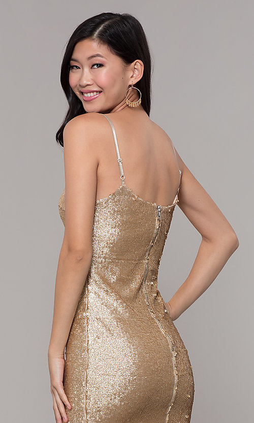 Image of gold sequin mini holiday party dress. Style: FAN-EKD2092 Detail Image 2