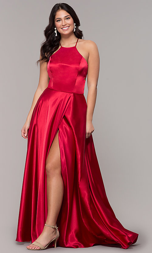 Image of high-neck open-back long faux-wrap prom dress. Style: BN-1160BN Detail Image 3