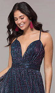 Image of iridescent long formal v-neck prom dress. Style: CLA-3727 Detail Image 1