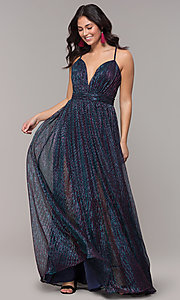 Image of iridescent long formal v-neck prom dress. Style: CLA-3727 Detail Image 3