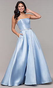 Image of long a-line strapless prom dress with pockets.  Style: CLA-3739 Front Image