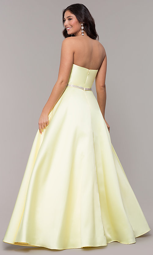 Image of long a-line strapless prom dress with pockets.  Style: CLA-3739 Detail Image 5