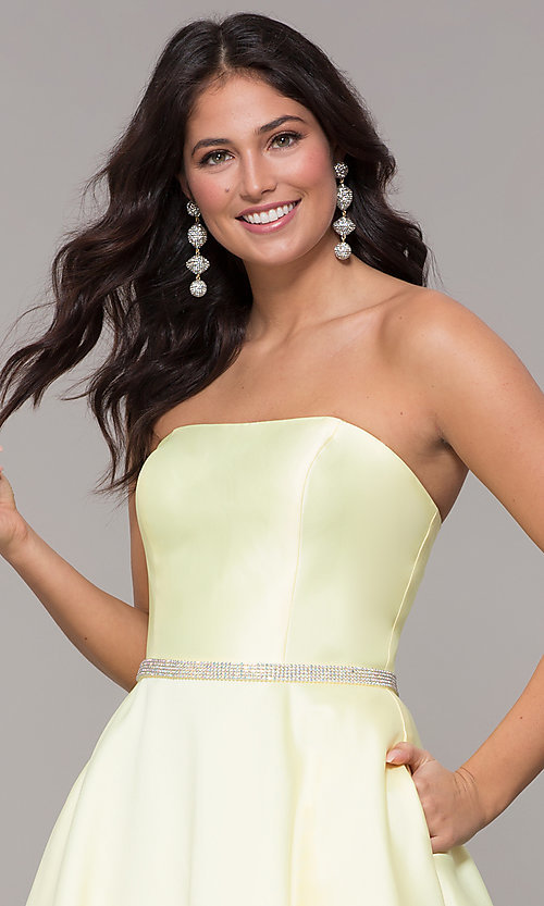 Image of long a-line strapless prom dress with pockets.  Style: CLA-3739 Detail Image 6