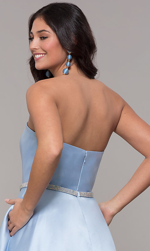 Image of long a-line strapless prom dress with pockets.  Style: CLA-3739 Detail Image 2