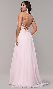 Image of light pink long prom dress with embroidered lace. Style: CLA-3757 Back Image