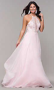 Image of light pink long prom dress with embroidered lace. Style: CLA-3757 Detail Image 3