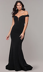 Image of sparkly off-the-shoulder long mermaid prom dress. Style: CLA-3788 Detail Image 3