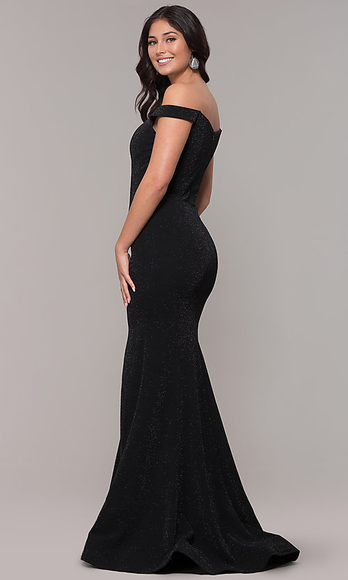 Image of sparkly off-the-shoulder long mermaid prom dress. Style: CLA-3788 Back Image