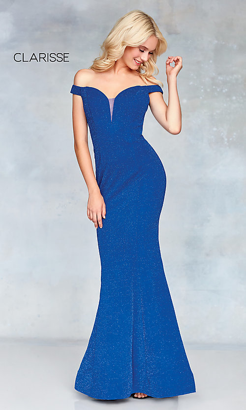 Image of sparkly off-the-shoulder long mermaid prom dress. Style: CLA-3788 Detail Image 4