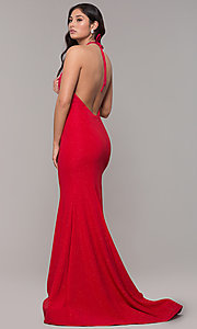 Image of long high-neck halter mermaid sparkly prom dress. Style: CLA-3831 Back Image