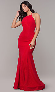 Image of long high-neck halter mermaid sparkly prom dress. Style: CLA-3831 Detail Image 3