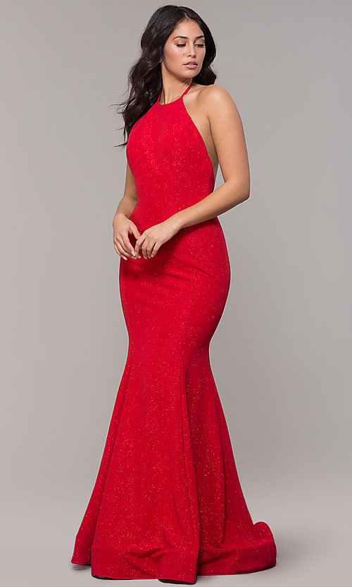 Image of long high-neck halter mermaid sparkly prom dress. Style: CLA-3831 Front Image