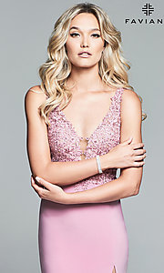Image of jersey long formal prom dress with sheer bodice. Style: FA-10204 Detail Image 1