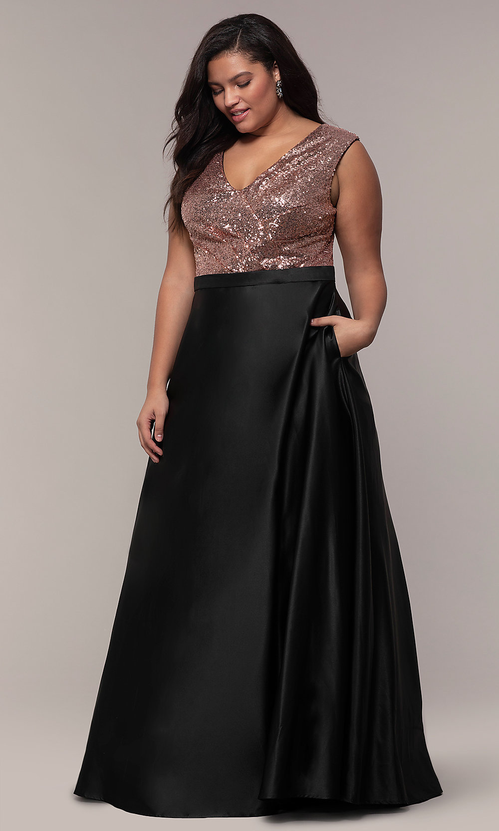 Sequin-Bodice Two-Tone Long Plus-Size Prom Dress