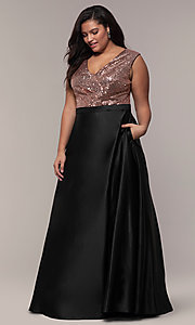 Image of sequin-bodice two-tone long plus-size prom dress. Style: SC-PL-PG-A Detail Image 3