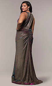 Image of iridescent plus-size long prom dress by PromGirl. Style: SC-PL-PG-B Back Image