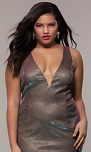 Image of iridescent plus-size long prom dress by PromGirl. Style: SC-PL-PG-B Detail Image 1