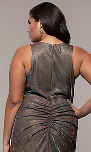 Image of iridescent plus-size long prom dress by PromGirl. Style: SC-PL-PG-B Detail Image 2