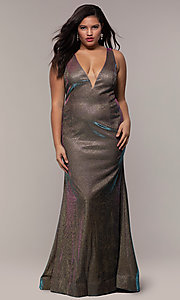 Image of iridescent plus-size long prom dress by PromGirl. Style: SC-PL-PG-B Front Image