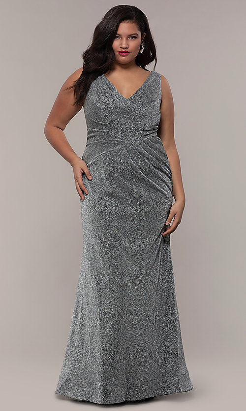 Image of glitter-knit plus-size long prom dress by PromGirl. Style: SC-PL-PG-C Front Image