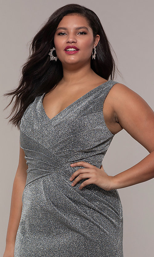 Image of glitter-knit plus-size long prom dress by PromGirl. Style: SC-PL-PG-C Detail Image 1