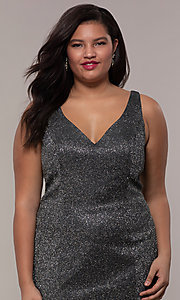 Image of glitter-knit long plus-size prom dress by PromGirl. Style: SC-PL-PG-D Detail Image 1