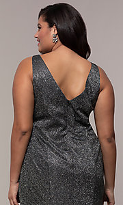 Image of glitter-knit long plus-size prom dress by PromGirl. Style: SC-PL-PG-D Detail Image 2