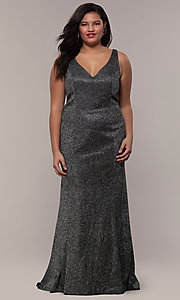 Image of glitter-knit long plus-size prom dress by PromGirl. Style: SC-PL-PG-D Detail Image 3